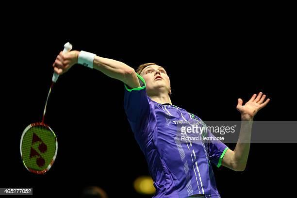 Viktor Axelsen of Denmark in action as he beats Scott Evans of Ireland in the men's singles during day three of YONEX All England Open Badminton...