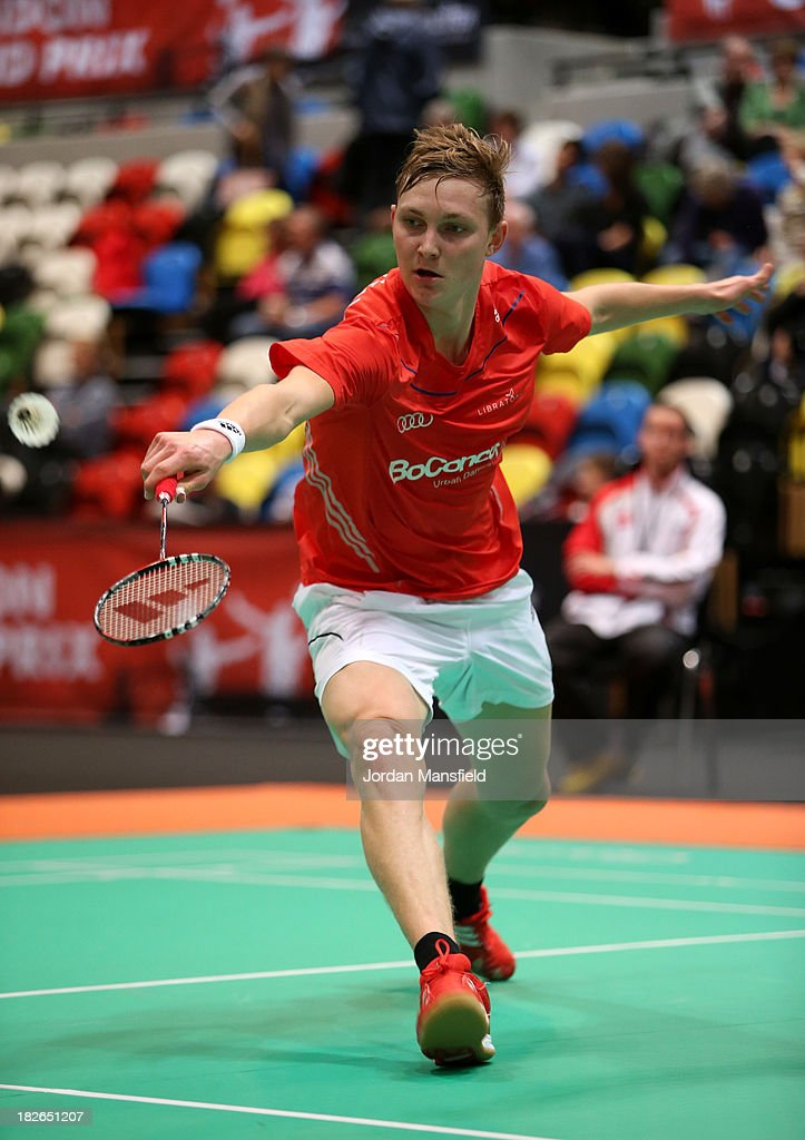 Viktor Axelsen of Denmark in action in his men's singles match against Brice Leverdez of France during Day Two of the London Badminton Grand Prix at The Copper Box on October 2, 2013 in London, England.