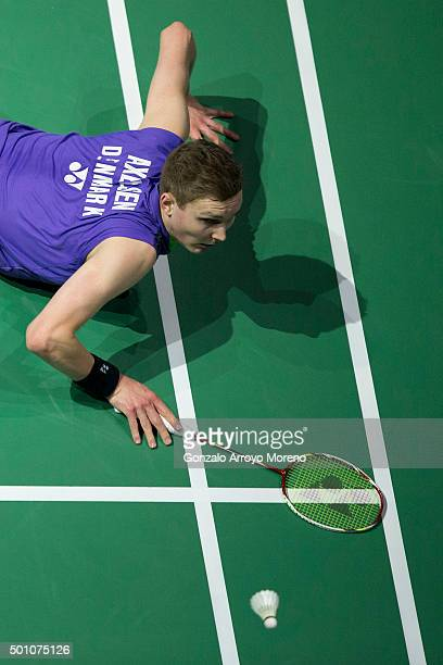Viktor Axelsen of Denmark in action in the the Semifinals Mens Single match against Chen Long of China of during day four of the BWF Dubai World...