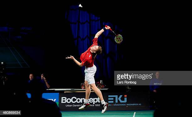 Viktor Axelsen of Denmark wins against Jan O Jorgensen of Denmark in the Mens Single Final during the Yonex Copenhagen Masters Badminton Finals at...