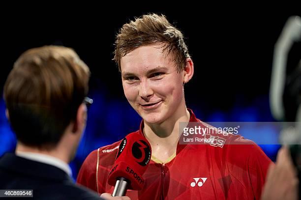 Viktor Axelsen of Denmark wins against Jan O Jorgensen of Denmark in the Mens Single Final during the Yonex Copenhagen Masters Badminton Finals at...