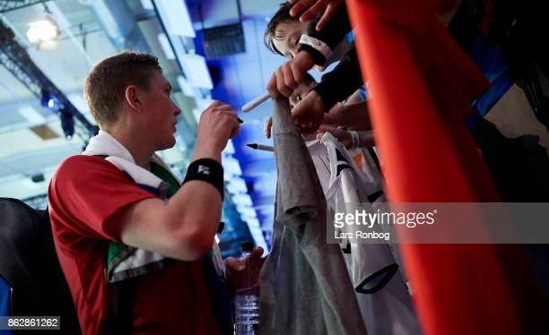 Viktor Axelsen of Denmark with fans during the day one at the DANISA Denmark Open Badminton tournament at Odense Idratshal on October 18 2017 in...