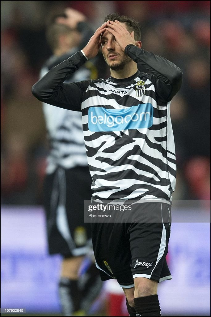 Viktor Bopp of SC Charleroi reacts during the Jupiler League match between Standard de Liege and Sporting Charleroi on December 7, 2012 in Liege, Belgium.