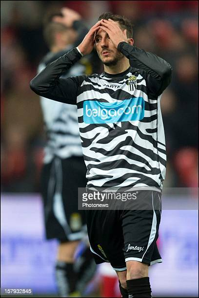 Viktor Bopp of SC Charleroi reacts during the Jupiler League match between Standard de Liege and Sporting Charleroi on December 7 2012 in Liege...