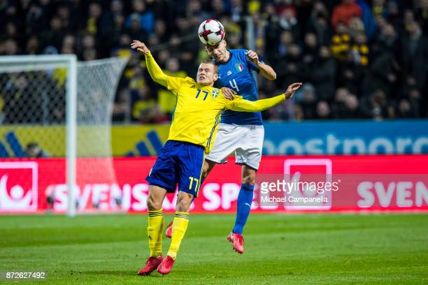 Viktor Claesson of Sweden in an ariel duel with Matteo Darmian of Italy during the FIFA 2018 World Cup Qualifier PlayOff First Leg between Sweden and...