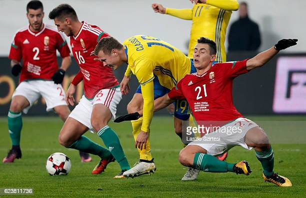 Viktor Claesson of Sweden tries to break out between Adam Pinter of Hungary and Zsombor Berecz of Hungary during the International Friendly match...
