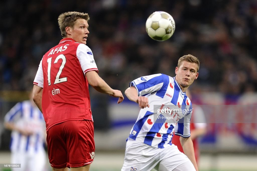 Viktor Elm of AZ, Alfreð Finnbogason of sc Heerenveen, during the Dutch Eredivisie match between sc Heerenveen and AZ Alkmaar on April 26, 2013 at the Abe Lenstra stadium in Heerenveen, The Netherlands.