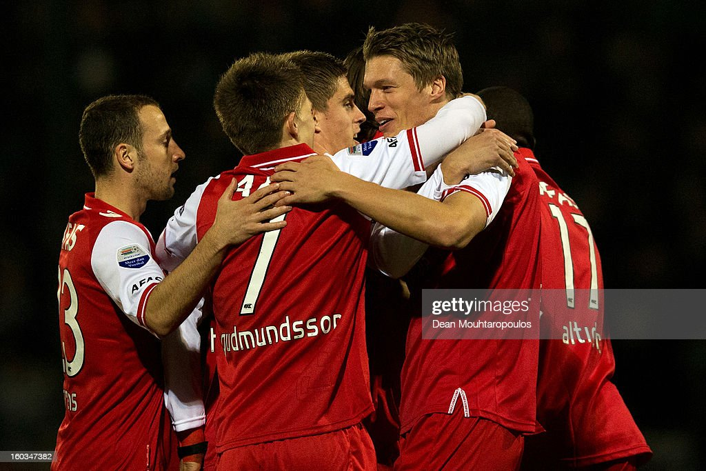 Viktor Elm (2nd from R) of AZ Alkmaar celebrates with team mates after scoring a goal during the KNVB Dutch Cup match between FC Den Bosch and AZ Alkmaar at BrainWash Stadion De Vliert on January 29, 2013 in Bosch, Netherlands.