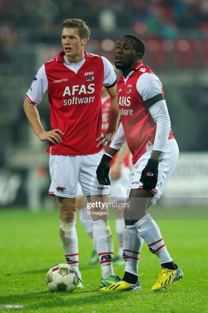 Viktor Elm of AZ, Jozy Altidore of AZ during the Dutch Eredivisie match between AZ Alkmaar and Willem II at the AFAS Stadium on December 08, 2012 in Alkmaar, The Netherlands.
