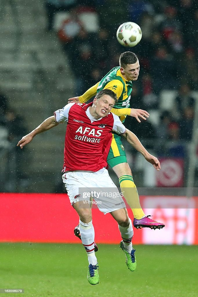 Viktor Elm of AZ , Kevin Jansen of ADO Den Haag during the Dutch Eredivisie match between AZ Alkmaar and ADO Den Haag at the AFAS Stadium on march 09, 2013 in Alkmaar, The Netherlands
