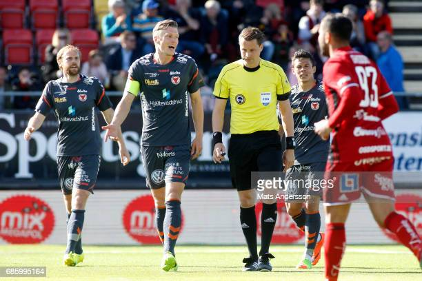 Viktor Elm of Kalmar FF protests infront of the head referee Andreas Ekberg during the Allsvenskan match between Ostersunds FK and Kalmar FF at...