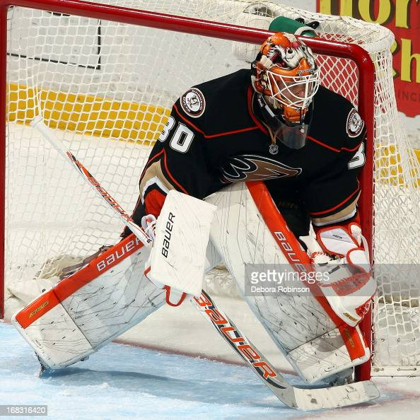 Viktor Fasth of the Anaheim Ducks defends in the net during the game against the Phoenix Coyotes on April 27 2013 at Honda Center in Anaheim...