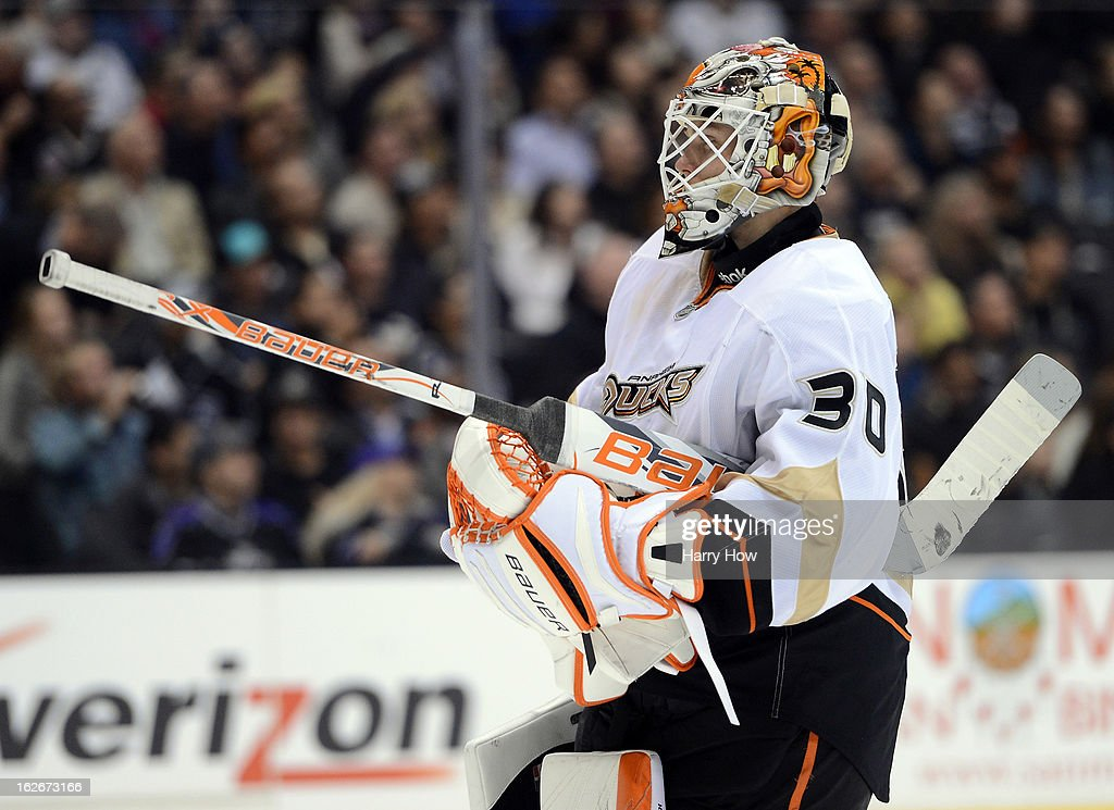 Viktor Fasth #30 of the Anaheim Ducks heads back to his net during a 5-2 loss to the Los Angeles Kings at Staples Center on February 25, 2013 in Los Angeles, California.