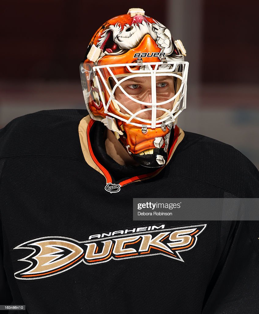 Viktor Fasth #30 of the Anaheim Ducks looks on during warmups before the game against the Phoenix Coyotes on March 6, 2013 at Honda Center in Anaheim, California.