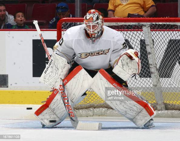 Viktor Fasth of the Anaheim Ducks looks on from his crease during their NHL game against the Vancouver Canucks at Rogers Arena April 25 2013 in...