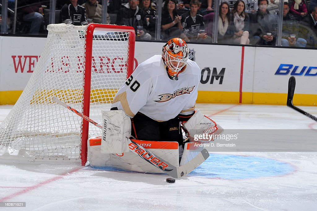 Viktor Fasth #30 of the Anaheim Ducks makes the save against the Los Angeles Kings at Staples Center on February 25, 2013 in Los Angeles, California.