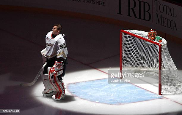 Viktor Fasth of the Anaheim Ducks stands during the National Anthem before the game against the Pittsburgh Penguins at Consol Energy Center on...