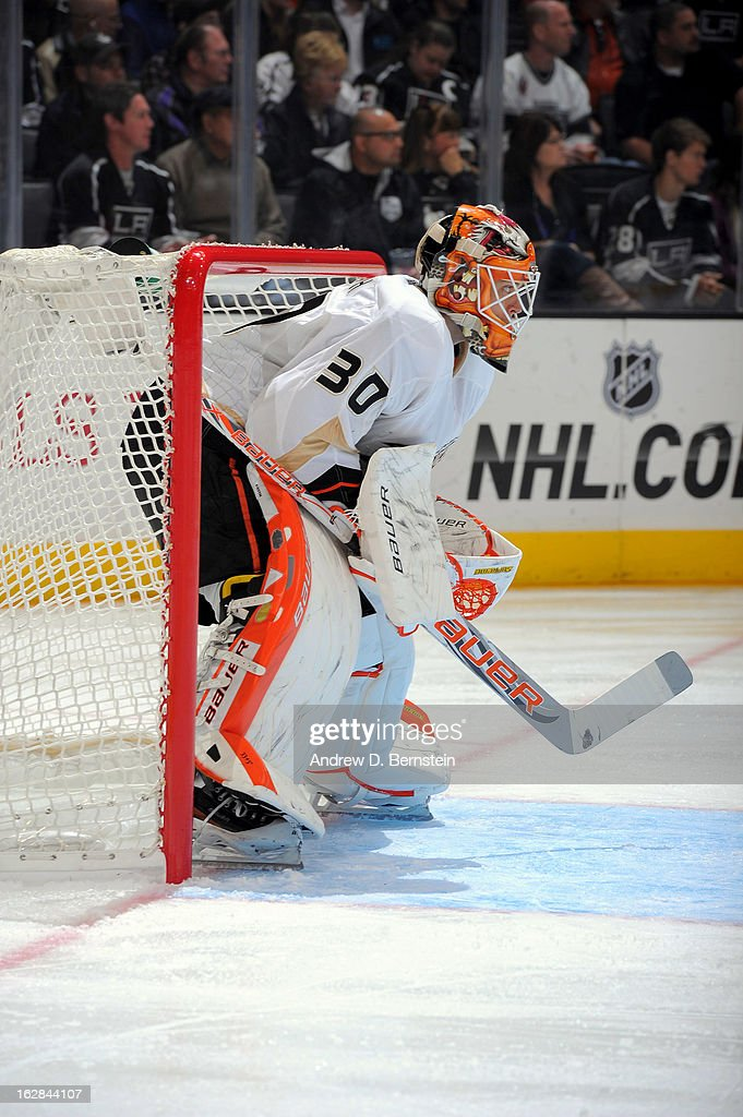 Viktor Fasth #30 of the Anaheim Ducks stands in goal against the Los Angeles Kings at Staples Center on February 25, 2013 in Los Angeles, California.