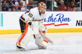 Viktor Fasth of the Anaheim Ducks takes his position in net prior to a game against the Edmonton Oilers on April 22 2013 at Rexall Place in Edmonton...