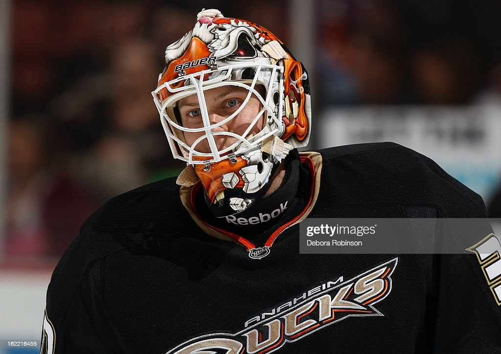 Viktor Fasth #30 of the Anaheim Ducks waits his turn during pre-game against the Columbus Blue Jackets on February 18, 2013 at Honda Center in Anaheim, California.