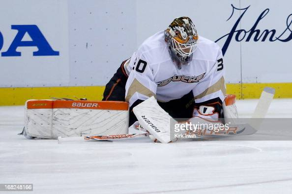 Viktor Fasth of the Anaheim Ducks warms up prior to the start of Game Three of the Western Conference Quarterfinals against the Detroit Red Wings...