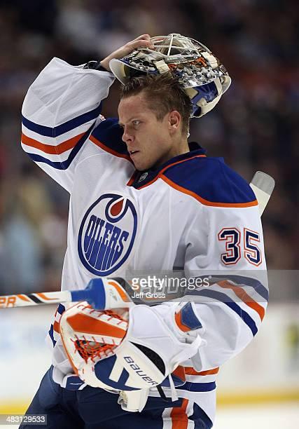 Viktor Fasth of the Edmonton Oilers looks on against the Anaheim Ducks at Honda Center on April 2 2014 in Anaheim California