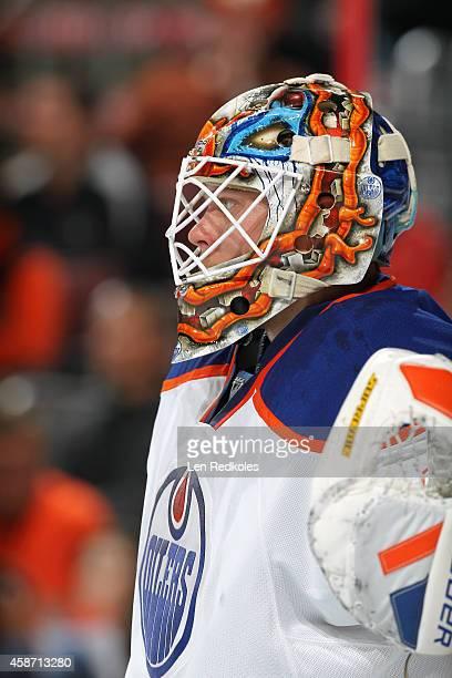 Viktor Fasth of the Edmonton Oilers looks on against the Philadelphia Flyers on November 4 2014 at the Wells Fargo Center in Philadelphia Pennsylvania