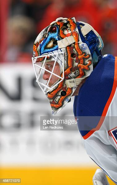Viktor Fasth of the Edmonton Oilers looks on against the Philadelphia Flyers on November 4 2014 at the Wells Fargo Center in Philadelphia Pennsylvania