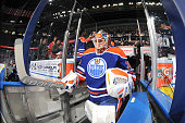 Viktor Fasth of the Edmonton Oilers makes his way to the ice prior to a game against the Ottawa Senators on November 13 2014 at Rexall Place in...