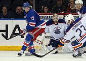 Viktor Fasth of the Edmonton Oilers skates against the New York Rangers at Madison Square Garden on November 9 2014 in New York City The Oilers...