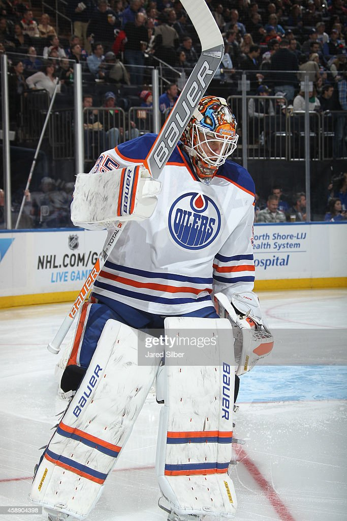 Viktor Fasth of the Edmonton Oilers skates prior to the start of the first period against the New York Rangers at Madison Square Garden on November 9...