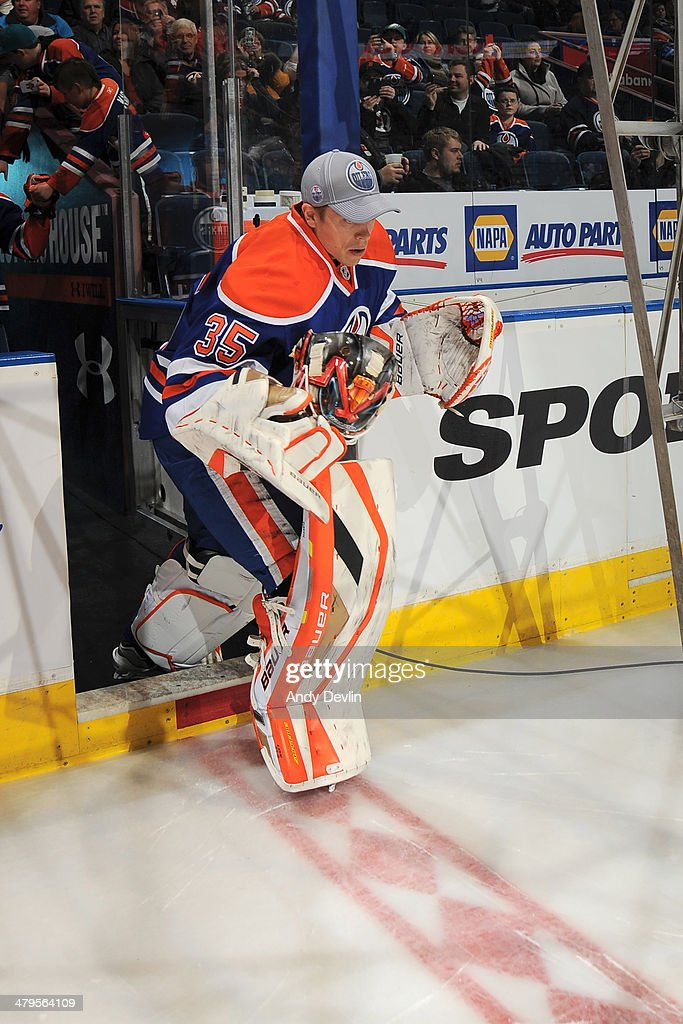 Viktor Fasth of the Edmonton Oilers steps onto the ice prior to a game against the New York Islanders on March 6 2014 at Rexall Place in Edmonton...