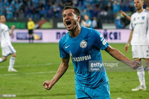 Viktor Fayzulin of FC Zenit St Petersburg celebrates his goal during the Russian Premier League match between FC Zenit St Petersburg and FC Volga...