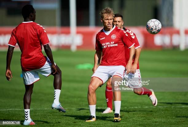 Viktor Fischer in action during the Denmark training session at Helsingor Stadion on August 29 2017 in Helsingor Denmark