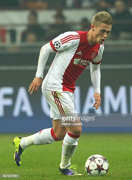 Viktor Fischer of Ajax Amsterdam in action during the UEFA Champions League Group H match between AC Milan and Ajax Amsterdam at Stadio Giuseppe...