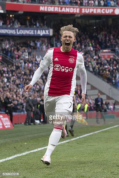 Viktor Fischer of Ajax celebrate after scoring 30 during the Dutch Eredivisie match between Ajax Amsterdam and FC Twente at the Amsterdam Arena on...