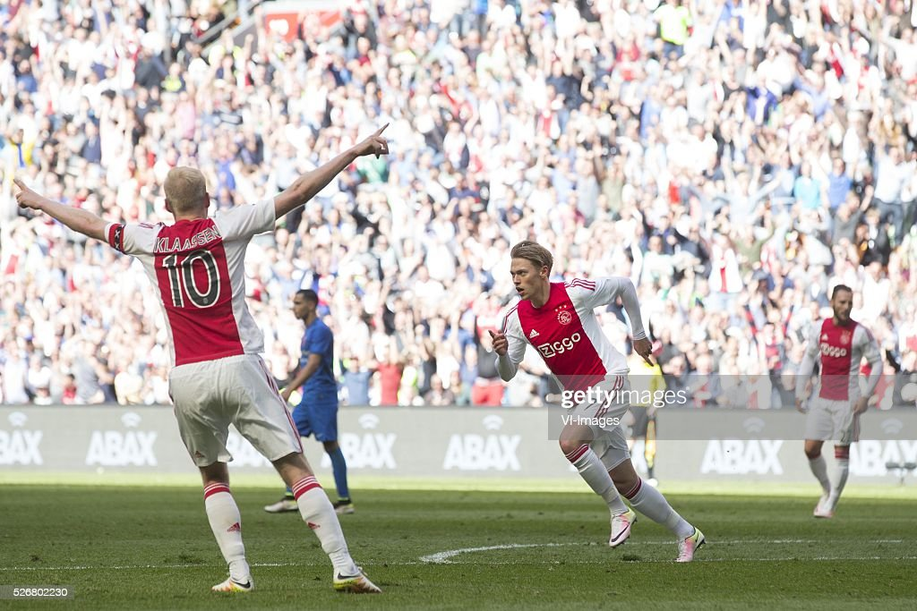 Viktor Fischer of Ajax celebrate after scoring 3-0 during the Dutch Eredivisie match between Ajax Amsterdam and FC Twente at the Amsterdam Arena on May 01, 2016 in Amsterdam, The Netherlands
