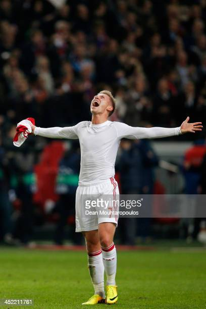 Viktor Fischer of Ajax celebrates victory after the UEFA Champions League Group H match between Ajax Amsterdam and FC Barcelona at Amsterdam Arena on...