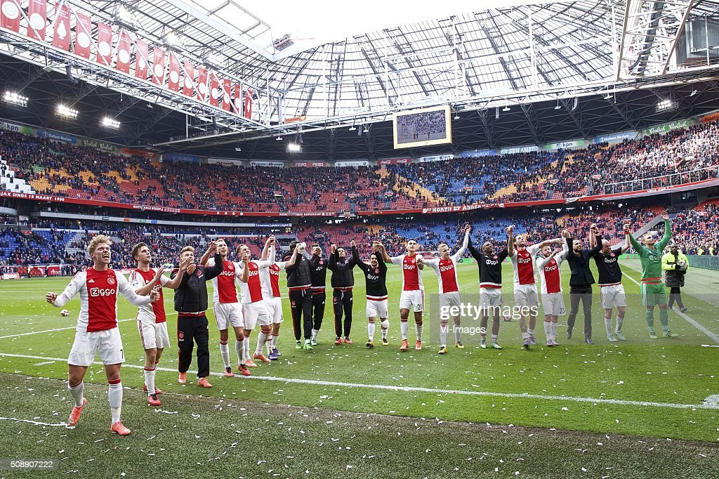 Viktor Fischer of Ajax, Joel Veltman of Ajax, Daley Sinkgraven of Ajax, Mike van der Hoorn of Ajax, Nemanja Gudelj of Ajax, Nick Viergever of Ajax, goalkeeper Diederik Boer of Ajax, Arek Milik of Ajax, Ricardo van Rhijn of Ajax, Amin Younes of Ajax, Anwar El Ghazi of Ajax, Donny van de Beek of Ajax, Riechedly Bazoer of Ajax, Mitchell Dijks of Ajax, Lasse Schone of Ajax, John Heitinga of Ajax, Davy Klaassen of Ajax, goalkeeper Jasper Cillessen of Ajax during the Dutch Eredivisie match between Ajax Amsterdam and Feyenoord Rotterdam at the Amsterdam Arena on February 07, 2016 in Amsterdam, The Netherlands