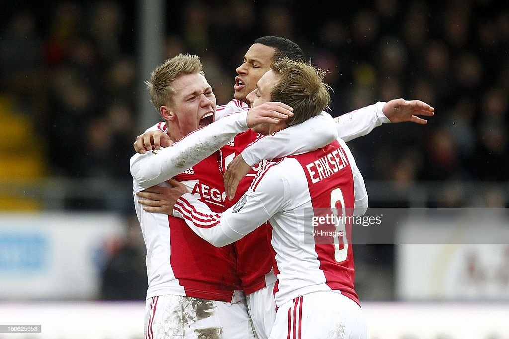 Viktor Fischer of Ajax (L), Ricardo van Rhijn of Ajax (C), Christian Eriksen of Ajax (R) during the Dutch Eredivisie match between VVV-Venlo and Ajax Amsterdam at stadium De Koel on february 3, 2013 in Venlo, The Netherlands