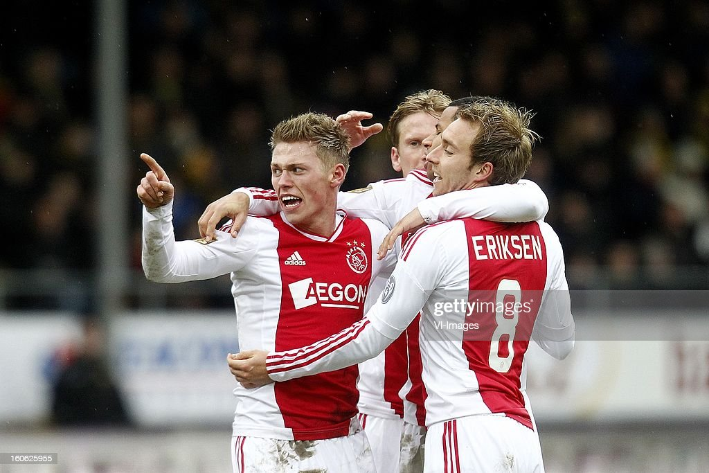 Viktor Fischer of Ajax (L), Ricardo van Rhijn of Ajax (CR), Christian Poulsen of Ajax (CL), Christian Eriksen of Ajax (R) during the Dutch Eredivisie match between VVV-Venlo and Ajax Amsterdam at stadium De Koel on february 3, 2013 in Venlo, The Netherlands