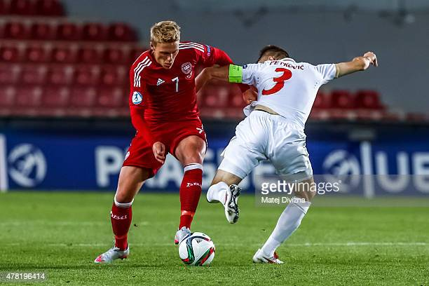 Viktor Fischer of Denmark battles for the ball with Marko Petkovic of Serbia during UEFA U21 European Championship Group A match between Denmark and...