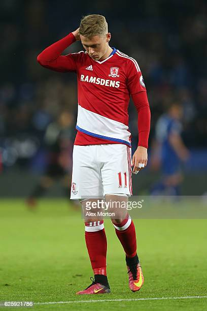 Viktor Fischer of Middlesbrough shows his dejection after the 22 draw in the Premier League match between Leicester City and Middlesbrough at The...