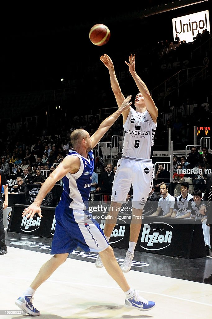 Viktor Gaddefors of Oknoplast competes with Marco Cusin of Lenovo during the LegaBasket A1 basketball match between Oknoplast Bologna and Lenovo Cantu at Unipol Arena on May 5, 2013 in Bologna, Italy.
