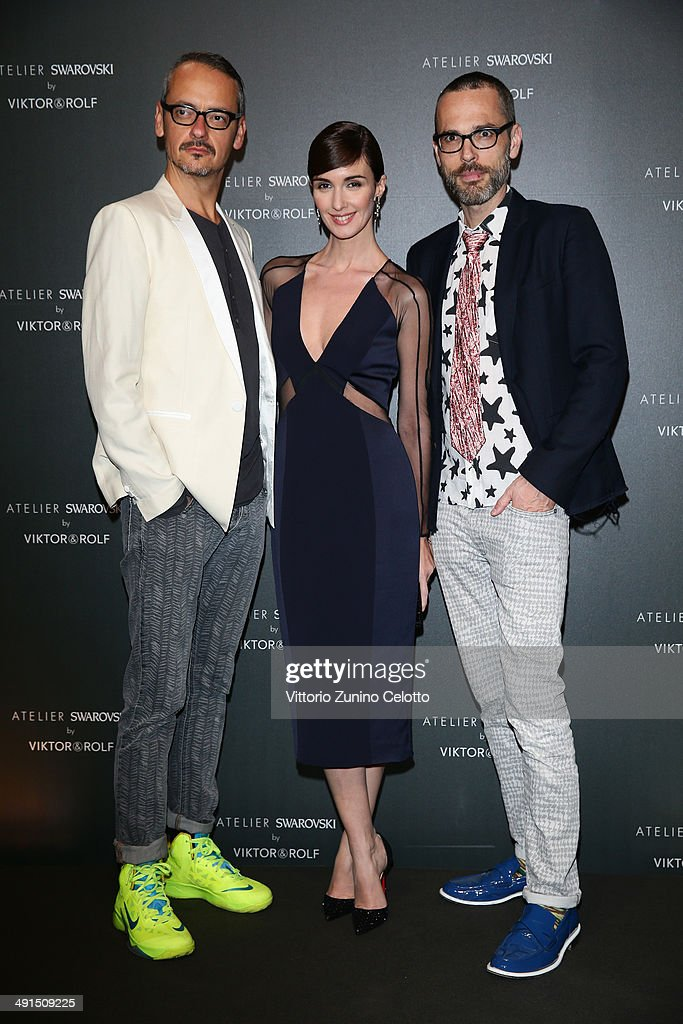 Viktor Horsting, actress Paz Vega and Rolf Snoeren attend a party hosted by Swarovski and Viktor & Rolf during the 67th Annual Cannes Film Festival on May 16, 2014 in Cannes, France.