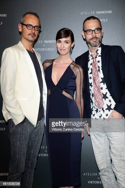 Viktor Horsting actress Paz Vega and Rolf Snoeren attend a party hosted by Swarovski and Viktor Rolf during the 67th Annual Cannes Film Festival on...