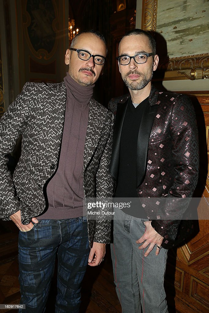 Viktor Horsting and Rolph Snoeren attend Swarovski 'Paris Haute Couture' Exhibition as part of Paris Fashion Week on February 28, 2013 in Paris, France.