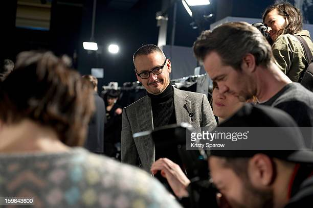 Viktor Horsting is seen backstage before the Viktor Rolf Menswear Autumn / Winter 2013/14 show as part of Paris Fashion Week on January 17 2013 in...