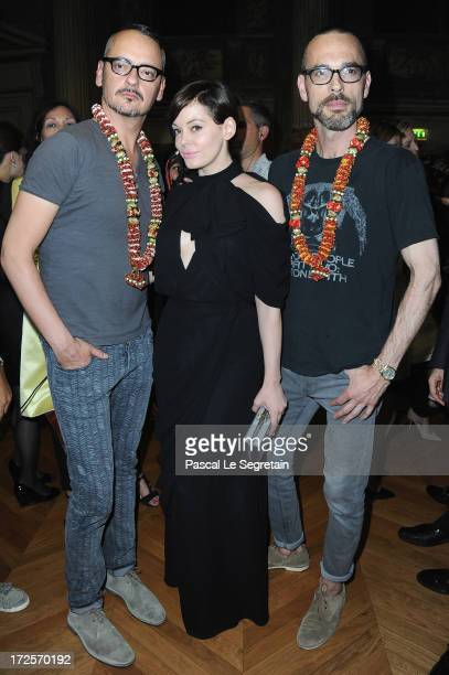 Viktor Horsting Rose McGowan and Rolf Snoeren attend the ViktorRolf show as part of Paris Fashion Week HauteCouture Fall/Winter 20132014 at La Gaite...