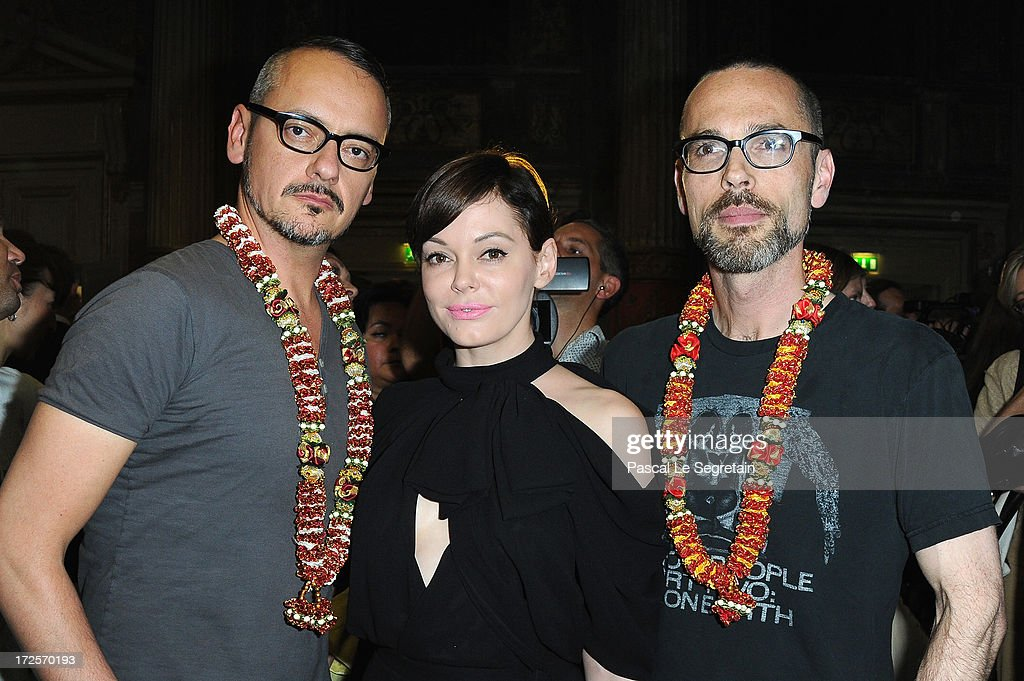 Viktor Horsting, Rose McGowan and Rolf Snoeren attend the Viktor&Rolf show as part of Paris Fashion Week Haute-Couture Fall/Winter 2013-2014 at La Gaite Lyrique on July 3, 2013 in Paris, France.